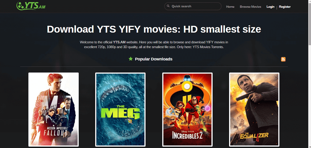 Best YIFY Torrents Proxy and Mirror Sites